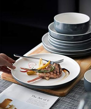 Kanwone Porcelain Dinner Plates 10 Inch Set Of 6 Microwave And Dishwasher Safe Plates Grey 0 2 300x360