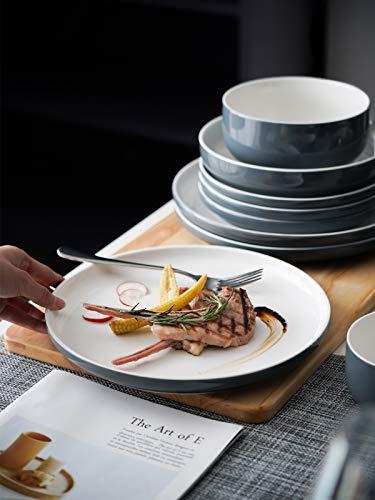 Kanwone Porcelain Dinner Plates 10 Inch Set Of 6 Microwave And Dishwasher Safe Plates Grey 0 2