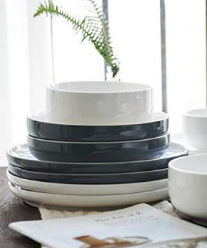 Kanwone Porcelain Dinner Plates 10 Inch Set Of 6 Microwave And Dishwasher Safe Plates Grey 0 3 300x360