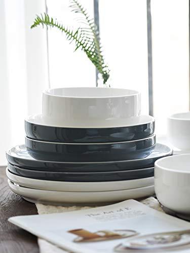Kanwone Porcelain Dinner Plates 10 Inch Set Of 6 Microwave And Dishwasher Safe Plates Grey 0 3