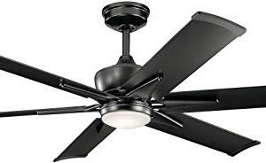Kichler 300300SBK Szeplo II 60 Outdoor Ceiling Fan With LED Light And Wall Control Satin Black 0 300x184