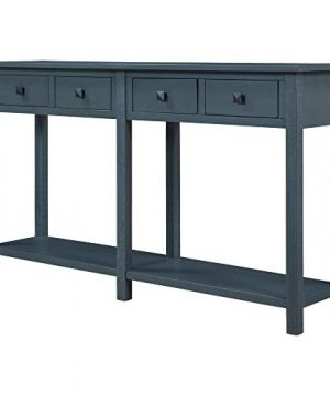 Knocbel 59 Rustic Console Table Sofa Side Table With 4 Storage Drawers And Bottom Shelf For Living Room Entryway Antique Navy 0 300x360
