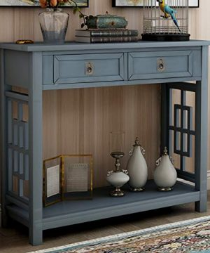 Knocbel Farmhouse Narrow Console Table For Entryway Hallway Sofa Side Table With 2 Drawers Iron Knobs Bottom Shelf 36 L X 14 W X 30 H Antique Navy 0 300x360