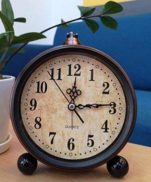 Konigswerk Vintage Alarm Clock Analog Table Desk Clock Battery Operated For Living Room Decor Shelf Classic 0 0 300x360