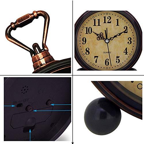 Konigswerk Vintage Alarm Clock Analog Table Desk Clock Battery Operated For Living Room Decor Shelf Classic 0 1