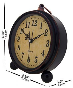 Konigswerk Vintage Alarm Clock Analog Table Desk Clock Battery Operated For Living Room Decor Shelf Classic 0 2 300x360