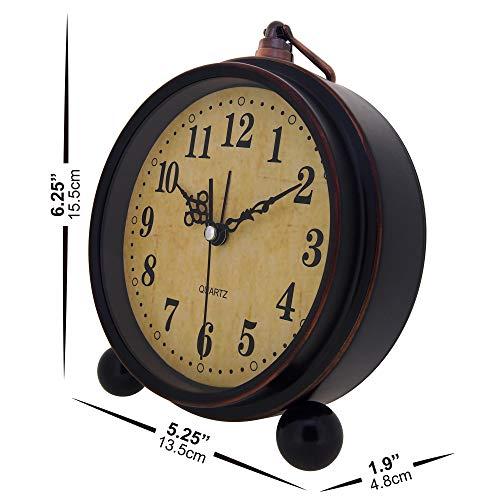 Konigswerk Vintage Alarm Clock Analog Table Desk Clock Battery Operated For Living Room Decor Shelf Classic 0 2