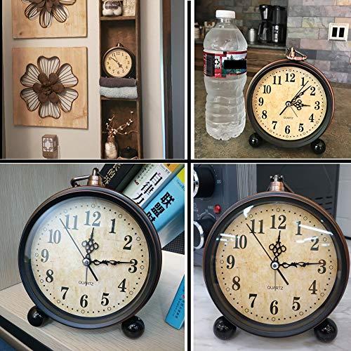 Konigswerk Vintage Alarm Clock Analog Table Desk Clock Battery Operated For Living Room Decor Shelf Classic 0 4