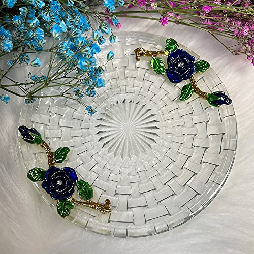 LANTREE Tea Plates Glass Small Round Dessert Plate Tea Saucers Floral Plates For Tea Party Tea Saucers With Flower Blue Rose 0 1