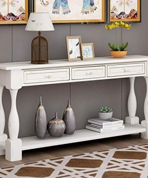LUMISOL 64 Long Console Sofa Table With 3 Drawers And Bottom Shelf Hallway Table For Entryway Living Room Easy Assembly Antique White 0 300x360