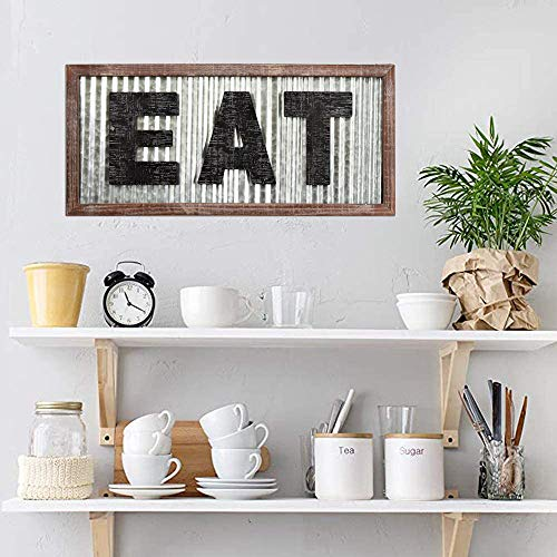 Large EAT Wood Wall Art Sign For Kitchen Wall DecorWood Framed Kitchen SignKitchen ArtRustic Vintage Farmhouse Country Decoration For Kitchen Wall Counter Door And Pantry275 X 125 0 0