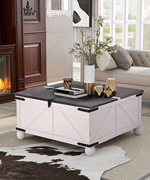 Lift Top Coffee Table With Hidden Storage For Living Room White 0 300x360