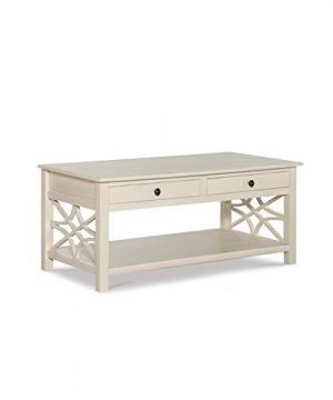 Linon Luster Wood Coffee Table In Antique White 0 300x360