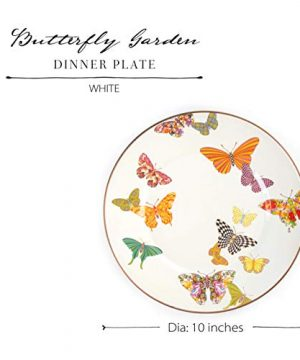 MacKenzie Childs Butterfly Garden Single Dinner Plate 10 Inch Housewarming Presents For New Home White 0 2 300x360