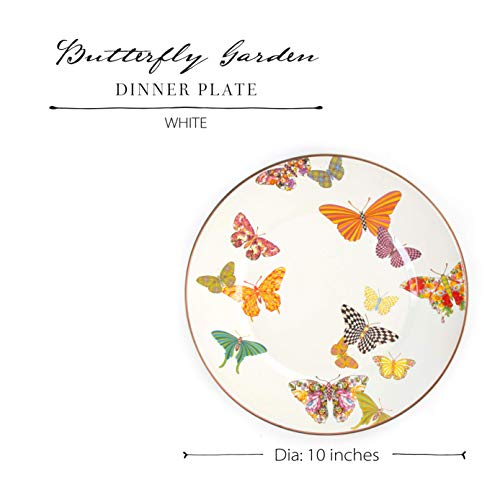 MacKenzie Childs Butterfly Garden Single Dinner Plate 10 Inch Housewarming Presents For New Home White 0 2