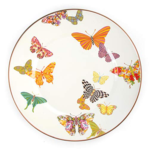 MacKenzie Childs Butterfly Garden Single Dinner Plate 10 Inch Housewarming Presents For New Home White 0
