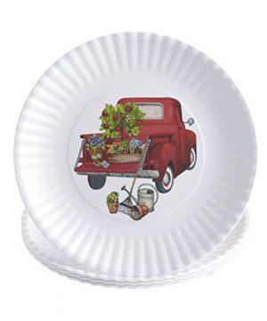 Melamine Floral Truck Dinner And Salad Serving Plates Set Of 4 0 0 300x360