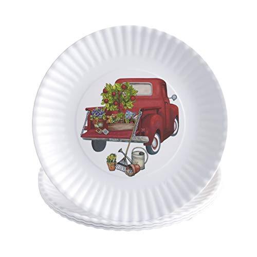 Melamine Floral Truck Dinner And Salad Serving Plates Set Of 4 0 0