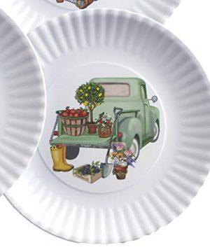 Melamine Floral Truck Dinner And Salad Serving Plates Set Of 4 0 1 300x360