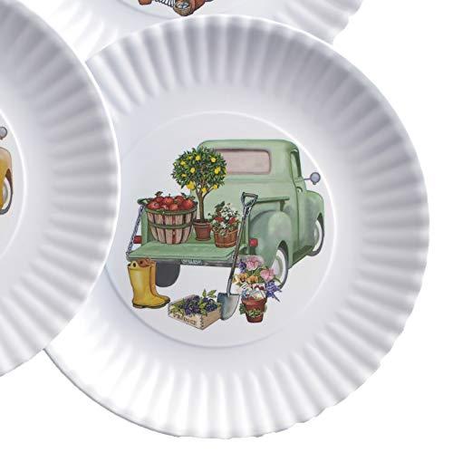 Melamine Floral Truck Dinner And Salad Serving Plates Set Of 4 0 1