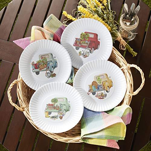 Melamine Floral Truck Dinner And Salad Serving Plates Set Of 4 0 2