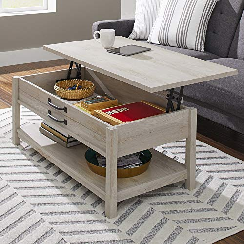 Modern And Unique Style Wood Coffee Table Functionality Farmhouse Lift Top Hidden Storage Rustic White Finish 0 0