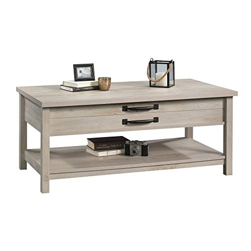 Modern And Unique Style Wood Coffee Table Functionality Farmhouse Lift Top Hidden Storage Rustic White Finish 0 1