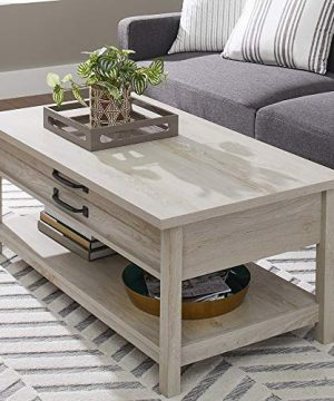Modern And Unique Style Wood Coffee Table Functionality Farmhouse Lift Top Hidden Storage Rustic White Finish 0 300x360