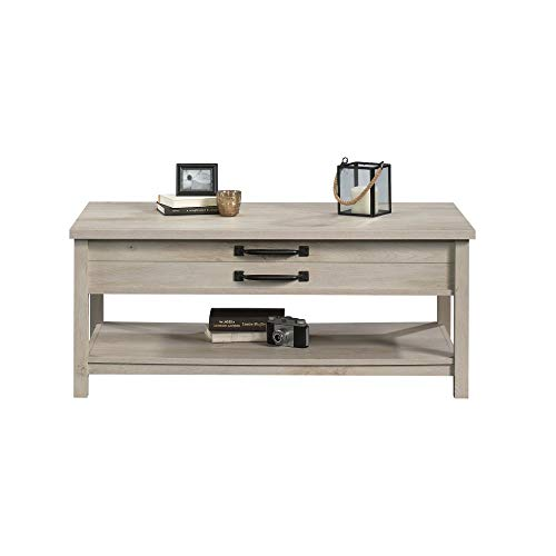 Modern And Unique Style Wood Coffee Table Functionality Farmhouse Lift Top Hidden Storage Rustic White Finish 0 4