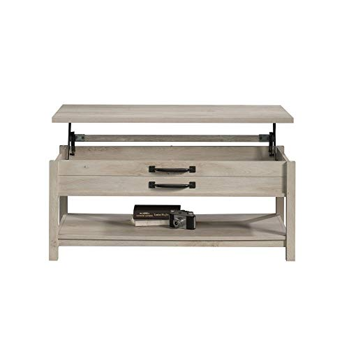 Modern And Unique Style Wood Coffee Table Functionality Farmhouse Lift Top Hidden Storage Rustic White Finish 0 5
