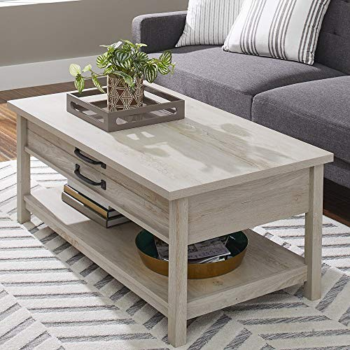 Modern And Unique Style Wood Coffee Table Functionality Farmhouse Lift Top Hidden Storage Rustic White Finish 0