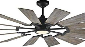 Monte Carlo 14PRR62AGPD Prairie Windmill Energy Star 62 Outdoor Ceiling Fan With LED Light And Hand Remote Control 14 Wood Blades Aged Pewter 0 300x165