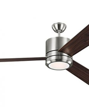 Monte Carlo 3VNMR56BSD V1 Vision Max Modern 56 Outdoor Ceiling Fan With LED Light And Wall Remote Control 3 Blades Brushed Steel 0 300x360