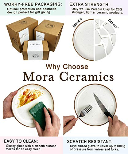 Mora Ceramic Dinner Plates Set Of 6 10 Inch Dish Set Microwave Oven And Dishwasher Safe Scratch Resistant Modern Rustic Dinnerware Kitchen Porcelain Serving Dishes Assorted Colors 0 3