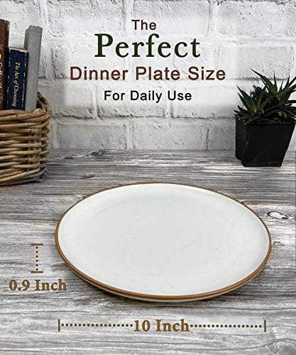 Mora Ceramic Dinner Plates Set Of 6 10 Inch Dish Set Microwave Oven And Dishwasher Safe Scratch Resistant Modern Rustic Dinnerware Kitchen Porcelain Serving Dishes Vanilla White 0 0