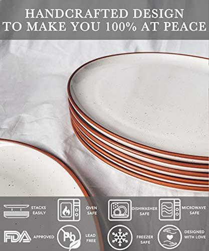 Mora Ceramic Dinner Plates Set Of 6 10 Inch Dish Set Microwave Oven And Dishwasher Safe Scratch Resistant Modern Rustic Dinnerware Kitchen Porcelain Serving Dishes Vanilla White 0 1