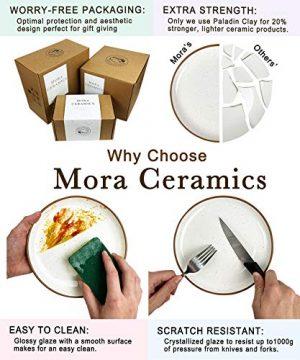 Mora Ceramic Dinner Plates Set Of 6 10 Inch Dish Set Microwave Oven And Dishwasher Safe Scratch Resistant Modern Rustic Dinnerware Kitchen Porcelain Serving Dishes Vanilla White 0 3 300x360