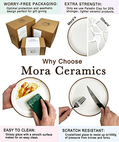 Mora Ceramic Dinner Plates Set Of 6 10 Inch Dish Set Microwave Oven And Dishwasher Safe Scratch Resistant Modern Rustic Dinnerware Kitchen Porcelain Serving Dishes Vanilla White 0 3