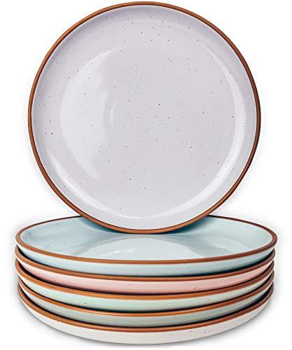 Mora Ceramic Plates Set 78 In Set Of 6 The Dessert Salad Appetizer Small Dinner Etc Plate Microwave Oven And Dishwasher Safe Scratch Resistant Kitchen Porcelain Dish Assorted Colors 0