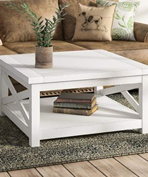 Moravia Cross Legs Coffee Table With Storage Wide Frame Plank Top Design With Lower Shelf For Storage Note Finish And Measurements May Vary Slightly 0 300x360