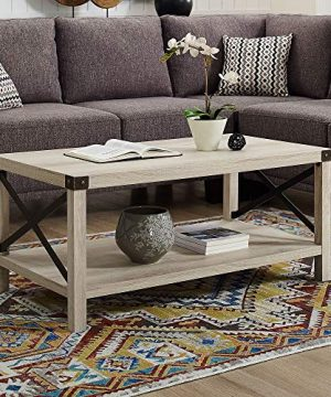 New 40 Inch Metal X Frame Coffee Table With White Oak Finish 0 0 300x360
