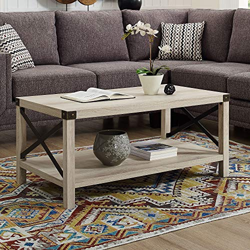 New 40 Inch Metal X Frame Coffee Table With White Oak Finish 0 0
