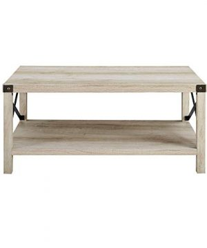 New 40 Inch Metal X Frame Coffee Table With White Oak Finish 0 1 300x360