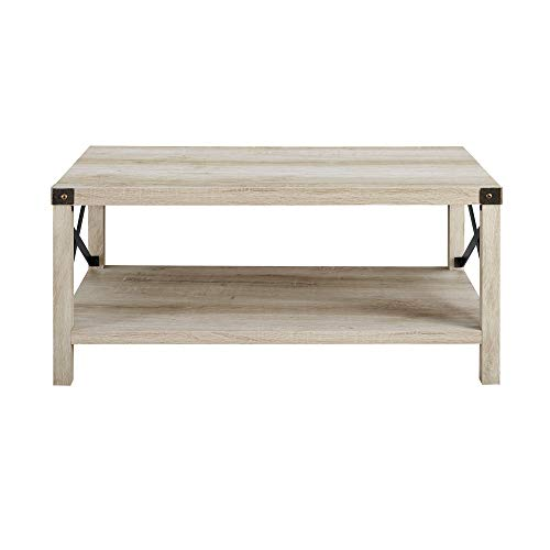New 40 Inch Metal X Frame Coffee Table With White Oak Finish 0 1