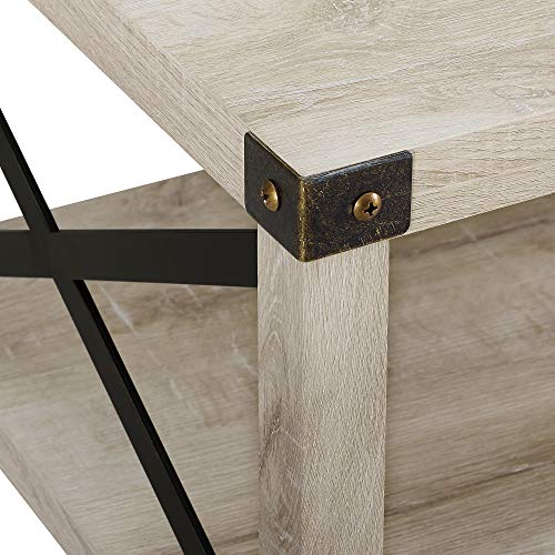 New 40 Inch Metal X Frame Coffee Table With White Oak Finish 0 2