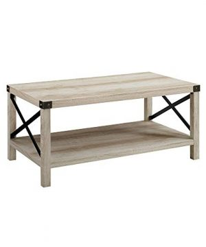 New 40 Inch Metal X Frame Coffee Table With White Oak Finish 0 3 300x360