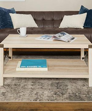New 40 Inch Metal X Frame Coffee Table With White Oak Finish 0 300x360