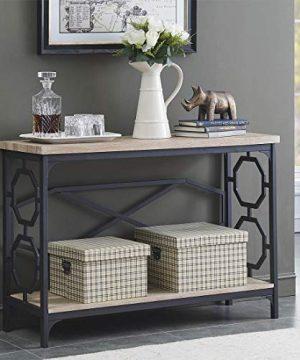 OK Furniture Narrow Sofa Table With Storage Shelf Farmhouse Hallway Console Table For Entryway White Oak Finish1 Pcs 0 300x360