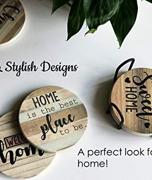 PANCHH Rustic Farmhouse Stone Cork Coasters For Drinks Absorbent Set Of 6 Coasters With Holder Best Housewarming Gifts For New Home Ideas Cute Kitchen And Coffee Table Decor Accessories 0 0 300x354