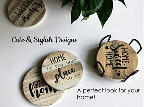 PANCHH Rustic Farmhouse Stone Cork Coasters For Drinks Absorbent Set Of 6 Coasters With Holder Best Housewarming Gifts For New Home Ideas Cute Kitchen And Coffee Table Decor Accessories 0 0